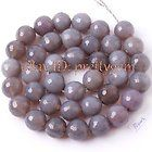 """10MM FACETED ROUND SHAPE GRAY AGATE GEMSTONE BEADS STRAND 15"""""""