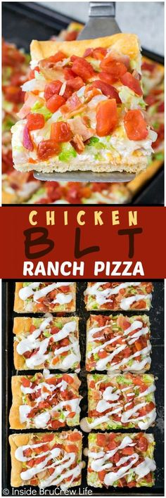 Chicken BLT Ranch Pizza - this easy cold pizza is loaded with lots of tomatoes, bacon, and lettuce. Great recipe for summer picnics or dinners! (creamy tomato pasta with chicken) Pizza Recipes, Dinner Recipes, Cooking Recipes, Picnic Recipes, Picnic Foods, Cake Recipes, Sandwich Recipes, Appetizer Recipes, I Love Food