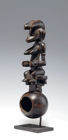 Africa | Ceremonial ladle from the Senufo people of the Ivory Coast | Wood, with fine, partly encrusted and glossy patina