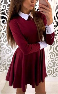 Outfit Ideas: 50 Winter Outfit Ideas For Women Burgundy Plain Pleated Peter Pan Collar Mini Dress. : Outfit Ideas: 50 Winter Outfit Ideas For Women Burgundy Plain Pleated Peter Pan Collar Mini Dress. Mode Outfits, Dress Outfits, Fashion Outfits, Fashion Women, Dress Fashion, Sexy Outfits, Fashion Clothes, Dress Shoes, Shoes Heels