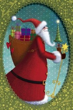 Santa and gifts Holiday Artist Illustration by www.MilaMarquis.com and www.Facebook.com/MilaMarquisillustration