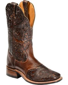 Boulet Hand Tooled Dankan Ranger Cowgirl Boots - Square Toe