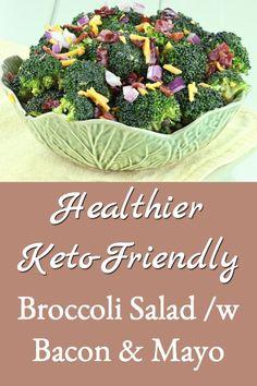 healthier keto friendly broccoli salad Healthy Broccoli Salad, Fresh Broccoli, Broccoli Cheddar, Healthy Salads, Bhg Recipes, Salad Recipes, Cranberry Cheese, Vinegar Dressing, Potluck Dishes