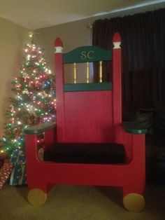 Uncle Jessie we need one of these Santa Chair! Christmas Alone, Christmas Chair, Christmas Garden, Christmas Lights, Christmas Holidays, Office Holiday Party, Xmas Party, Outdoor Christmas Decorations, Holiday Decor