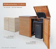 2er Müllbox CUBUS 120 + 240 Liter - Hartholz FSC natur geölt - Hochwertige Verarbeitung - Tischler-Qualität