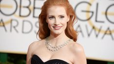 Jessica Chastain in Bulgari Heritage collection vintage diamond necklace, 2014 Golden Globes