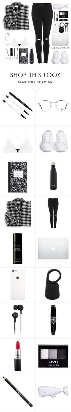 """""""Kiss This"""" by that-one-awkward-child ❤ liked on Polyvore featuring Ray-Ban, Kiki de Montparnasse, Chiara Ferragni, Dot & Bo, S'well, Blair, Topshop, Byredo, Original Penguin and MAC Cosmetics"""