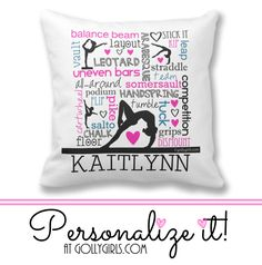 Golly Girls: Personalized Words of Gymnastics Typography Throw Pillow - prices start at just $21.99! 3 sizes and 2 fabrics to choose from! Shop now at gollygirls.com