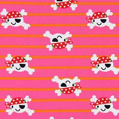 Jersey Pirate Head 4 - hot pink - Children's and fashion jersey fabrics - Jersey weeks - Dotted and striped jersey fabrics - More Jersey Fab...