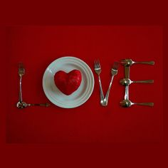 VDay breakfast or dinner-spell out LOVE with silverware and a round plate. Cutesy!