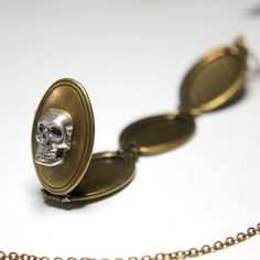 Sterling Silver Skull Double Locket Necklace Gothic Human by mrd74, $34.00