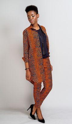 pantalon cigarette en wax Africain n°1 : Pantalons, jeans, shorts par openya-couture