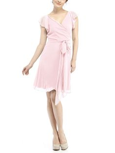 DescriptionJoanna August Dorian ShortCocktail length bridesmaid dressWrap dress with flutter sleevesSkirt rounds up in front to create high-low hemlineChiffonLongThe Joanna August Dorian Short dress is a cocktail length wrap bridesmaid dress with ruffled sleeves. The skirt wraps around the front to create a flirty hemline.