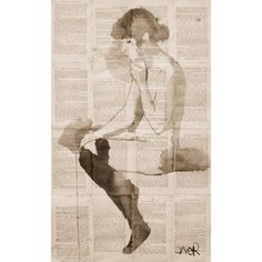nude in black stockings Drawing by LOUI JOVER (1,455 PEN) ❤ liked on Polyvore featuring home, home decor, black home accessories and black home decor