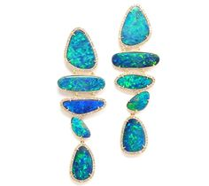 Opal Doublet Line Earrings - Rina Limor Designs