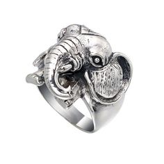 Heavy Weight Elephant Face 925 Sterling Silver Ring, Big Size Elephant Ring by jewelkingthai on Etsy https://www.etsy.com/listing/150036224/heavy-weight-elephant-face-925-sterling