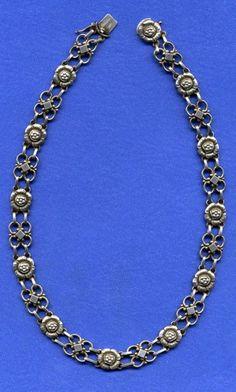 Vintage Georg Jensen floral necklace #55. Impressed marks: Georg Jensen 925 Sterling Demark 55. Circa 1933