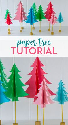 [ Christmas Crafts : Illustration Description Paper Christmas Tree Tutorial by Lindi Haws of Love The Day Retro Christmas, Christmas Art, Simple Christmas, Handmade Christmas, Christmas Holidays, Christmas Gifts, Whimsical Christmas, Xmas, Paper Christmas Decorations