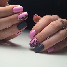 Beautiful nails 2016, Grey and pink nails, May nails, Nails for spring dress, Pink dress nails, Spring designs for nails, Spring nail art, Spring nail ideas