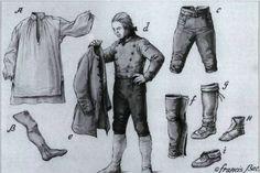 a)La chemise, b) les bas, c) la culotte, d) un habitant vêtu de son gilet, e) la veste, f) les mitasses, g) les bottes «mocassins», h) les nippes, i) les mocassins.