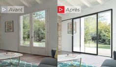 Spectacular panoramic windows avantapres Sliding door Before / After avantapres Spectacular panoramic Sliding Wall, Small Loft, Wooden Tops, Getaway Cabins, Pergola Designs, Interior Architecture, Sweet Home, New Homes, House Design