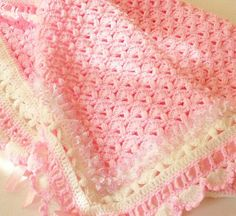 INSPIRATION--BEAUTIFUL EDGING--Crocheted Baby Blanket Afghan for Baby Girl A Cotton Candy Treat Pink and White Knitting in Lace and Satin Ribbon Original Design