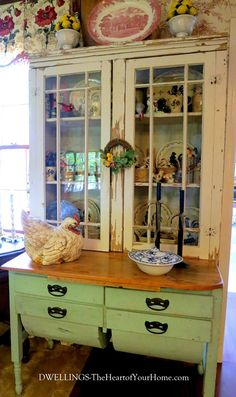 Antique Cupboard 7 another beautiful dream!! would love to have something much like this in my kitchen!! a beautiful spot to showcase my collectibles!!