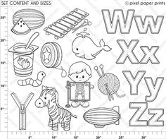 Alphabet Digital Stamps Part 7 WXYZ clip art di pixelpaperprints