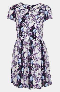Topshop 'Florence' Iris Print Dress available at Lilac Dress, Sheer Dress, Dress Up, Nice Dresses, Short Sleeve Dresses, Wrap Dresses, Floral Dresses, Women's Dresses, Topshop Outfit