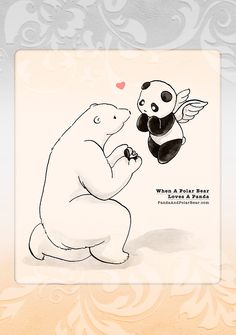 How sweet! Panda and polar bear getting married! Panda Hug, Baby Panda Bears, Panda Love, Polar Bears, Cute Panda Cartoon, Panda Funny, Polar Bear Drawing, We Are Bears, Bear Art