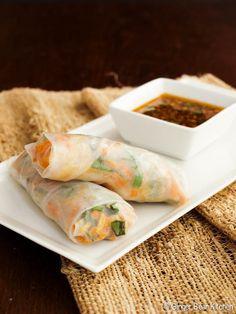 shrimp spring rolls + soy-ginger dipping sauce