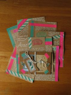 snail mail inspiration: neon washi tape on kraft paper using white pen