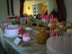 Gold and pink bridal shower. DIY desert table!