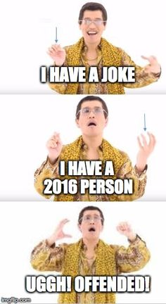 ppap meme  | I HAVE A JOKE I HAVE A 2016 PERSON UGGH!OFFENDED! | image tagged in ppap meme | made w/ Imgflip meme maker