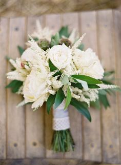 White Rose and Astilbe Bridal Bouquet | Jose Villa | Christmas Tree Farm Wedding Ideas in Green, White, and Gold
