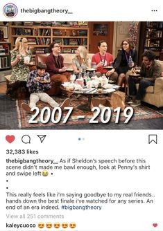 End scene of The Big Bang Theory-Penny is wearing the shirt she started out in her first scenes of Season Clever👏👏💥💥 Big Bang Theory Show, Big Bang Theory Penny, Best Tv Shows, Favorite Tv Shows, Favorite Things, Leonard Hofstadter, Amy Farrah Fowler, Johnny Galecki, Great Comedies