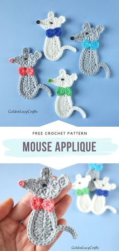 Crochet Turtle, Crochet Birds, Crochet Mouse, Crochet Animals, Crochet Flowers, Crochet Applique Patterns Free, Free Crochet, Crochet Appliques, Applique Designs