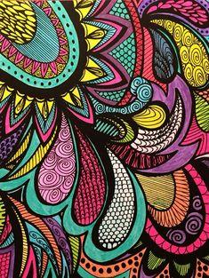 Calming Doodles Volume 1 Illustrated by Virginia Falkinburg Coloring Book Art, Doodle Coloring, Mandala Coloring, Arte Shabby Chic, Buddha Canvas, Paisley Art, Free Printable Art, Tangle Art, Madhubani Painting
