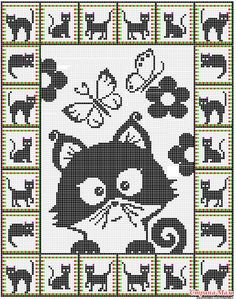 19 ideas for crochet cat pattern posts Gato Crochet, Crochet Cross, Crochet Chart, Crochet Blanket Patterns, Crochet Stitches, Crochet Doilies, Knit Crochet, Crochet Blankets, Cat Cross Stitches