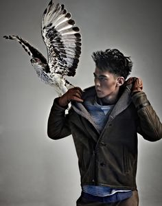 Xiaotian Tang Poses with Birds of Prey for Esquire China Male Pose Reference, Figure Reference, Human Sketch, Bird People, Man Anatomy, Face Study, Male Poses, Character Inspiration, Inspiration Boards