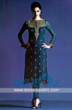Deep Teal Nokeea, Product code: DR2013, by www.dressrepublic.com - Keywords: New Shalwar Kameez Online Boutique Shops in Atlanta, Georgia Region