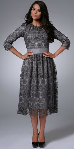#Modest Lace Dress with sleeves | Mode-sty.com