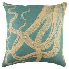 handmade burlap pillow, showcasing an octopus motif Burlap Throw Pillows, Throw Pillow Sets, Outdoor Throw Pillows, Accent Pillows, Decorative Throw Pillows, Floor Pillows, Pillow Covers, Blue Couches, Cushion Pads