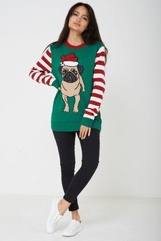 We have clothing to suit all body shapes for any budget ranging from size UK 6 to Regular to Plus Sizes in a wide variety of colours and styles. This Christmas jumper is the perfect novelty piece for the festive season! Christmas Jumpers, Christmas Sweaters, Green Stripes, Long A Line, Body Shapes, Pullover Sweaters, Graphic Sweatshirt, Plus Size, Sweatshirts