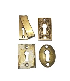 Late Vintage Brass Keyhole Cover Escutcheon Plate Old Oval Beading Antique STYLE