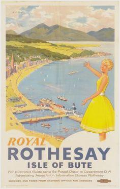 Rothesay Isle of Bute Figis poster British Railways 1950s