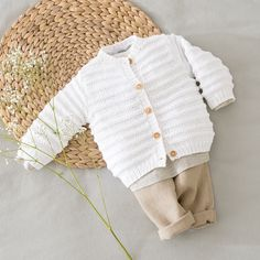 Knit baby cardigan - Organic cotton baby clothes - Knitting kit or a finished item in size Newborn to 12 months - Knitted baby clothes Baby Cardigan Knitting Pattern Free, Knitted Baby Cardigan, Knit Baby Booties, Baby Hats Knitting, Cardigan Pattern, Baby Knitting Patterns, Free Knitting, Sweater Patterns, Crochet Patterns