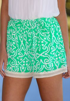 All Fun & Games Shorts-Spring Green - Bottoms
