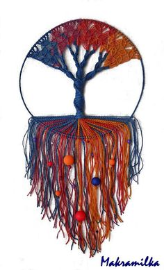 Handmade Macrame Wall Hanging - Tree of Life - Blue-Violet - Red - Orange Macrame Square Knot, Crochet Dreamcatcher, Wall Ornaments, Micro Macramé, Boho Wall Hanging, Macrame Tutorial, Tree Wall Art, Macrame Patterns, Beads And Wire