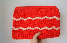 Vintage Red Hand Knitted Clutch by hipandvintage on Etsy, $7.50